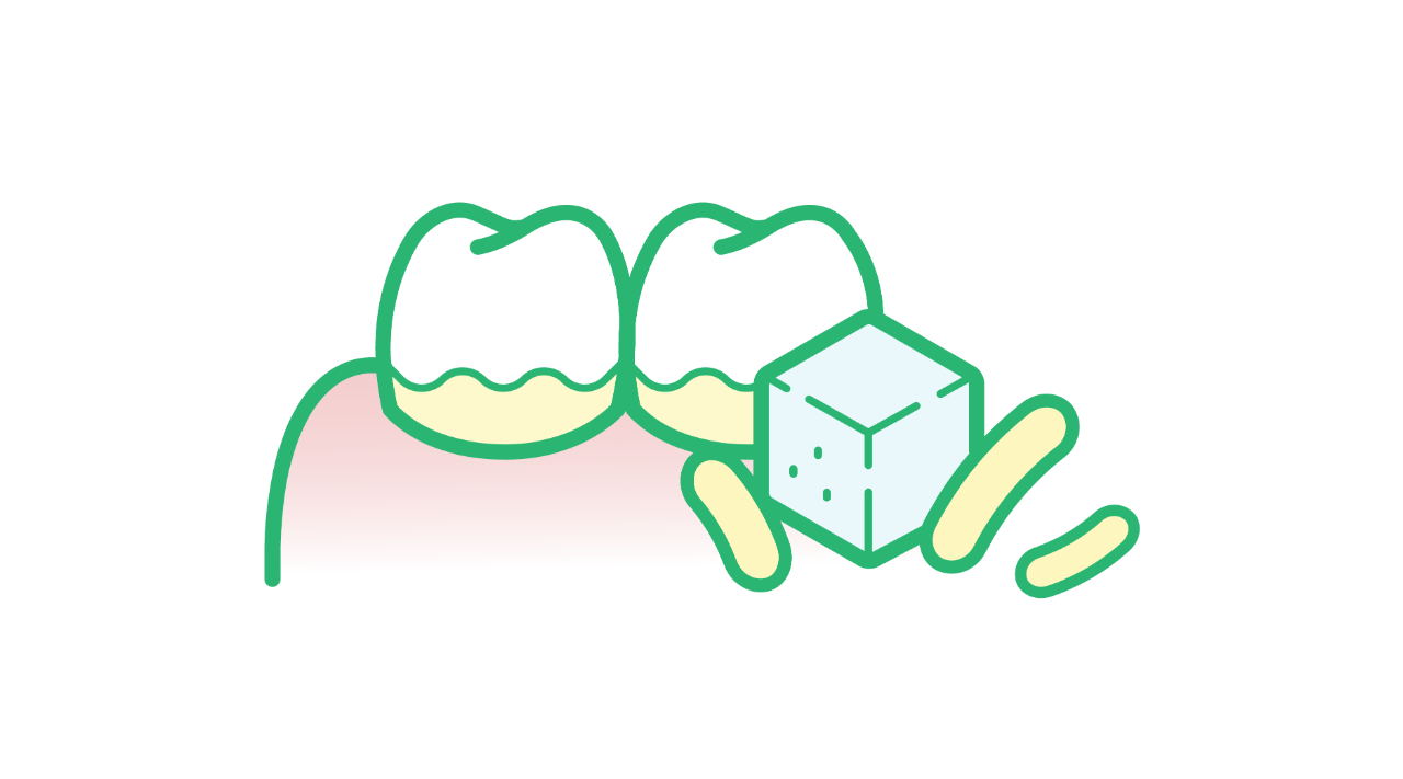 Illustration of bacteria and sugar that can cause plaque