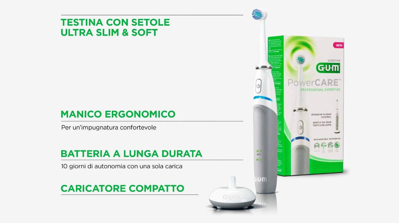 PowerCare electric Toothbrush Illustration showing its main features and product highlights
